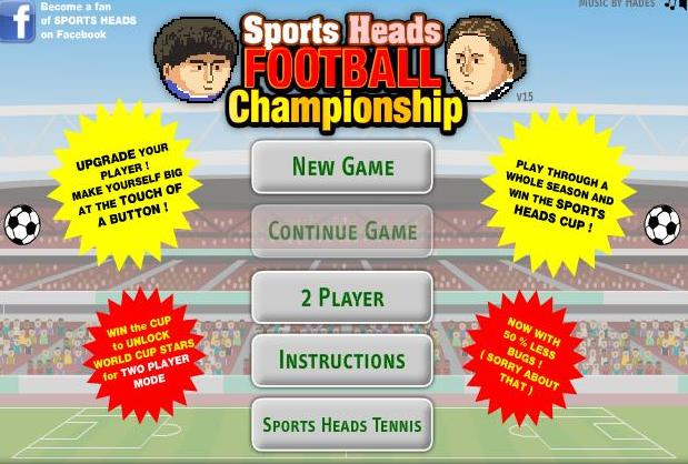 play the game sports head football championship 2 player free online